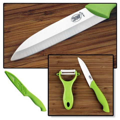 "CERASHARP 4"" Ceramic Paring Knife & Peeler Set - Superior Blade Strength & Cutting Performance"