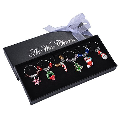 RIVCHELL Wine Makers Christmas Full Set of Wine Charms Shaped Wine Glass Charms Markers Set of 6pcs,Silver Plated (Style 1)