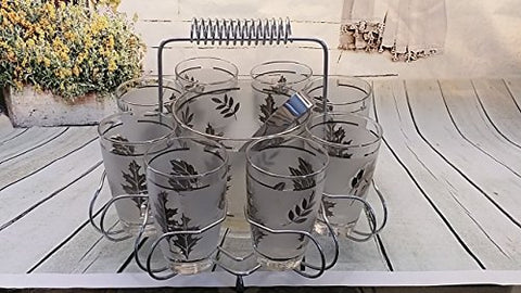 Vintage Silver Maple Leaf Frosted Glasses and Ice Bucket and Tongs in Holder Hostess Set