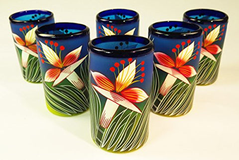 Mexican Glass Tumblers Hand Painted White Orchid Flowers, 16 Oz, Set of 6