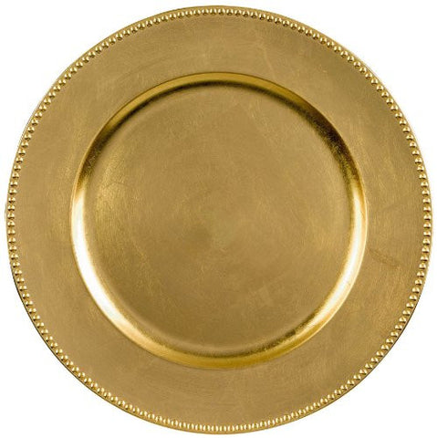 "Elegant Round Metallic Plastic Charger Party Table Reusable Serveware and Dishware, Gold, 14""."
