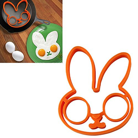 Auwer Innovative Cute Rabbit Shape Fried Egg Mold Silicone Omelette Pancake Mold Mould Rings Control Rice Omelette Love Mold Omelette Pancakes Art Breakfast Kitchen Cooking Tools