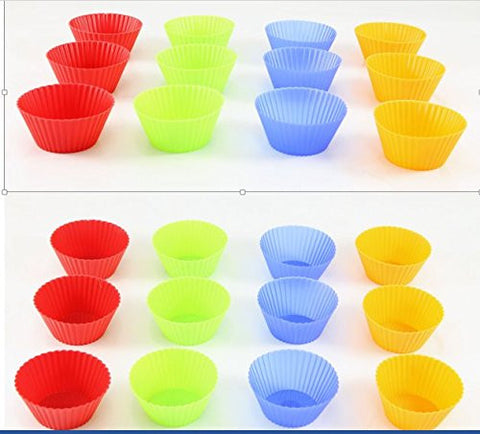 Silicone Baking Cups, Cupcake Liners - Multi Pack- Nonstick Muffin Molds - Premium Quality Food Grade - Reusable Bake Wrappers - Replace Paper Baking Cups by Perfect Life Ideas
