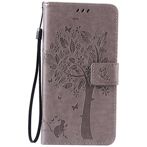 Galaxy Note 5 Case,Galaxy Note 5 Wallet Case,MT Mall(TM)[Hand Strap]Premium PU Leather Slim Fit Case Magnetic Hybrid Flip Folio TPU Soft Bumper Wallet Purse Case[Built in Credit Card Slots] Tree