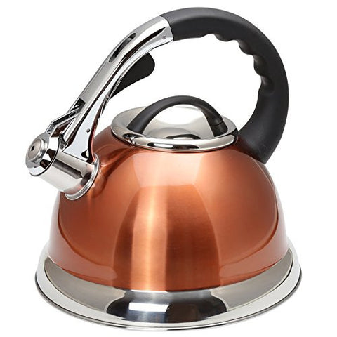 Creative Home Camille 3.0 quart Stainless Steel Whistling Tea Kettle, Metailic Copper Finish, , Bronze