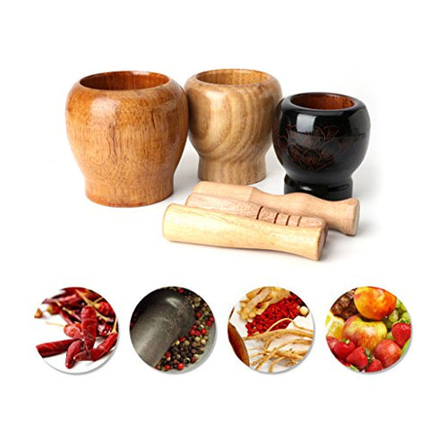 SYlive Mortar And Pestle Set, Wooden Garlic Ginger Herb Mixing Grinding Spice Crusher Bowl Mortar with Pestle (large)