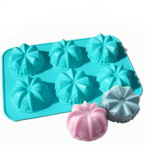 X-Haibei Mini Lily Crown Swirl Bundt Cake Bread Cupcake Chocolate Soap Silicone Mold