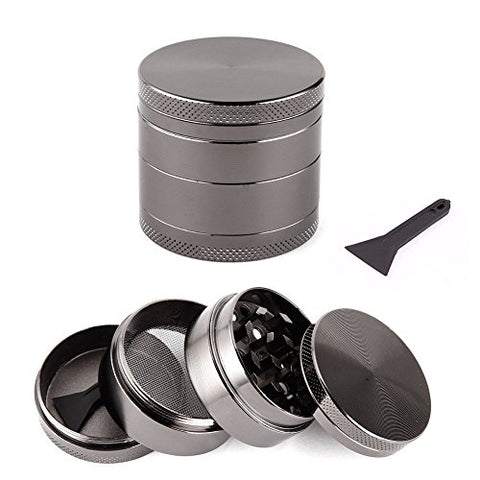 TOOGOO(R) 4 Layers Herb Mill Crusher Grinder Pollinator Magnetic Color & Size:grey 40mm