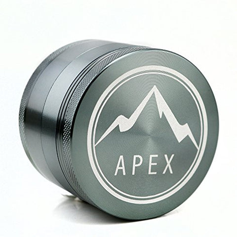 Apex Grinders Herb Grinder Premium 4 Piece With Pollen Catcher 2.5 Inch 4 piece aluminum grinder Made with newest CNC technology Includes carrying case and pollen scraper (Space Gray)