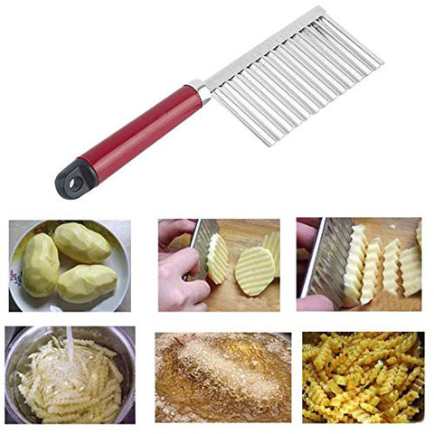 Lautechco Potato Wavy Edged Knife Stainless Steel Plastic Handle Kitchen Gadget Vegetable Fruit Cutting Peeler Cooking Tool Accessories