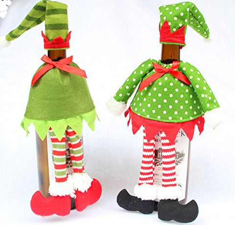 AUCH 2Pack Cute Elf Dress Red Wine/Champagne Bottle Cover Bags, Christmas Dinner Table Decoration Ornament, Party Table Decor Supplies (Polka Dot & Stripe)