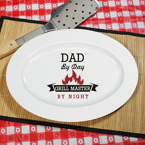 "Personalized Grill Master Platter For Him, 13"" x 9"", Ceramic"