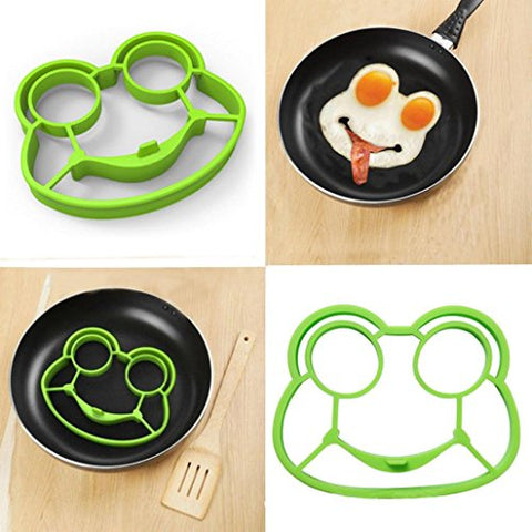 Auwer Innovative Cute Frog Shape Fried Egg Mold Silicone Omelette Pancake Mold Mould Rings Control Rice Omelette Love Mold Omelette Pancakes Art Breakfast Kitchen Cooking Tools