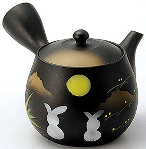 Yamakiikai pottery Tokoname ware Japanese Kyusu Tea Pot Black Kokutei Moon & Rabbit 380cc from Japan GM2016