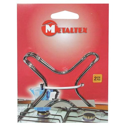 Metaltex 2 Piece Chrome Gas Stove Top, Silver