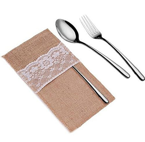 Pack of 10 Burlap & Lace Silverware Holder Burlap Jute Hessian and Lace Wedding Decor Cutlery Bag Tableware Holder Pocket