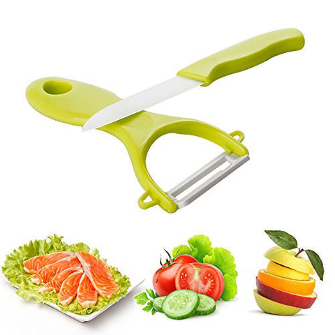 UTEN Professional Chef Utensil Ceramic Cutlery Kitchen Knives with Fruit Peeler (green)