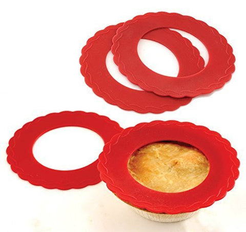 "4 Set Mini Silicone Pie Pan Shields Red 5"" - 6"" Pies Protects Crust"