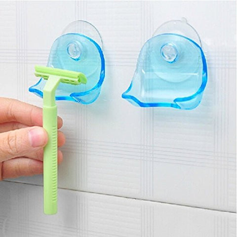 Duckdarky Clear Blue Plastic Super Suction Cup Razor Rack Bathroom Razor Holder Suction Cup Shaver