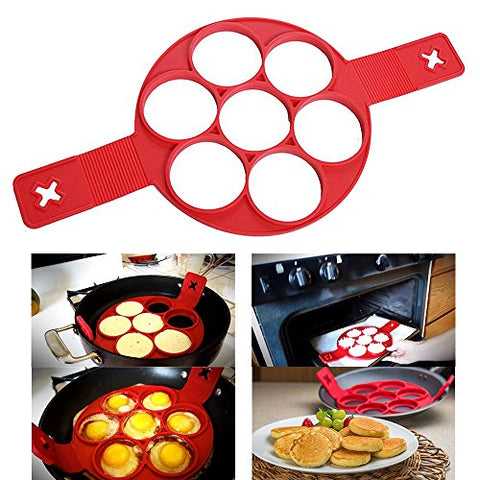 Doinshop Non-Stick Silicone Fantastic Fried Egg Mold Shaper Pancake Mold Kitchen Tool