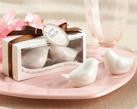 Wedding Favors Lovebirds in the Window Ceramic Salt and Pepper Shakers