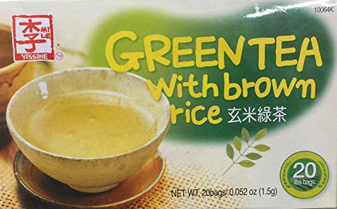 1.5g Yissine Green Tea with Brown Rice, 20 Tea Bags (One Unit)