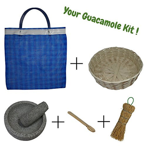Guacamole bowl bundle, includes 5-inch stone mortar and pestle set, tortilla basket, wooden salsa spoon, natural fiber cleaning brush and mesh grocery bag, perfect gift set (5 inch)