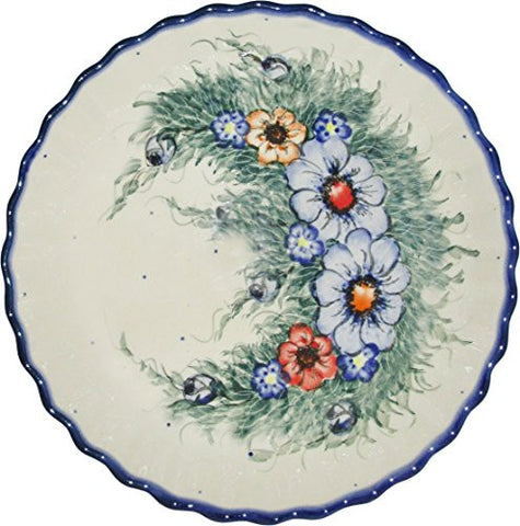 "Boleslawiec Stoneware - Polish Pottery Pie Plate or Quiche Baker - Eva's Collection ""Wild Field"""