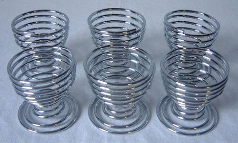 6 PC PIECE SPIRAL CHROME EGG CUP CUPS HOLDER by Apollo