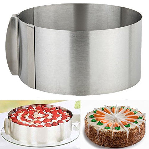 Mousse Cake Mold, OPACC Adjustable Roung Ring Stainless Steel Mousse Baking Mould Layer Cake Slicer Kit(9.5 to 12 inch) (Cake Mold)