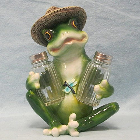 Frog Wearing Hat Salt and Pepper Shaker Holder Figurine