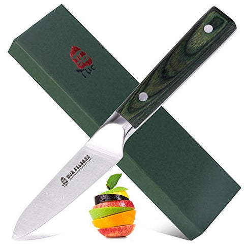 "TUO Cutlery Peacock Series Paring Knife 3.5"" Green Pakkawood Handle Japanese Ultra Stainless Steel"