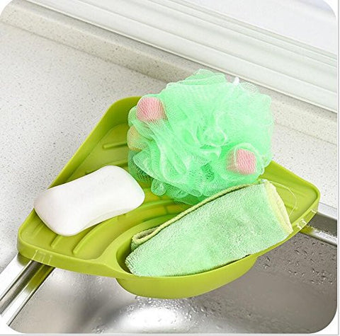 Green color Nordic Fashion Candy Color Multifuction Useful Kitchen Rack Tank Cleaning Sponge Drainboard Bathroom Soap Holder
