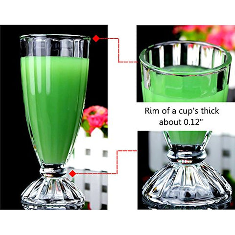 Calunce Ttransparent Classical Ice Cream Glass Milkshake Cup 12oz Set Of 2