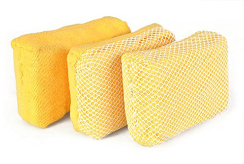 "DII Wash and Dry Microfiber Scrub Scour and Polish Cleaning Sponges (Set of 3), 4.5 x 3 x 1.5"", Yellow"