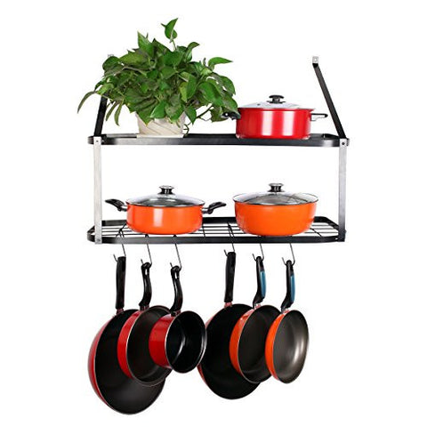 "VDOMUS Shelf Pot Rack Wall Mounted Pan Hanging Racks 2 Tire, Black, 10.6"" H x 29.5"" W x 13.7"" D ... (Black)"