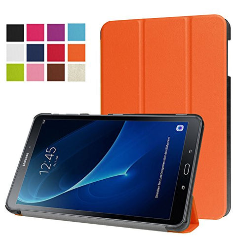 Samsung Galaxy Tab A 10.1 Smart Shell Case -Vangoog Ultra Slim Lightweight Stand Cover with Auto Sleep/Wake Feature for 2016 Galaxy Tab A 10.1-Inch SM-T580 Tablet ONLY-Orange