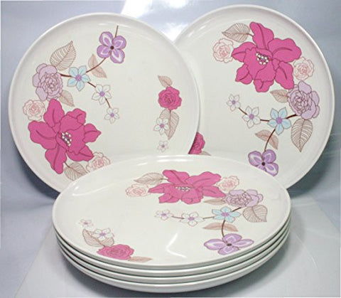 Floral Pattern / Dinner Plates, 9 Inch Melamine, Set of 6 (Catherine)