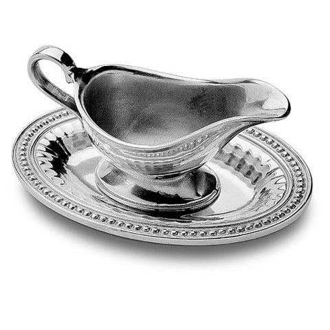 Wilton Armetale Flutes and Pearls Gravy Boat with Oval Tray