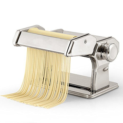 Unichart Pasta Maker Machine- Highest Quality Stainless Steel Pasta Machine 7 Adjustable Thickness Settings - Make Perfect Spaghetti or Fettuccini
