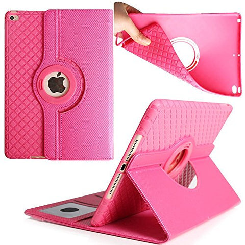 Case for iPad Pro 9.7 inch,TechCode 360 Degrees Rotating Smart Stand with Card Slots Screen Protective Case Cover for Apple iPad Pro 9.7 inch Tablet (Hot Pink)
