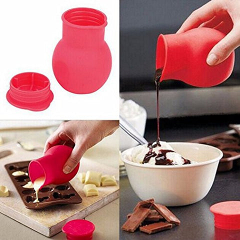 SUIE 1Pcs Silicone Chocolate Melting Pot Cup Melting Heating Butter Milk Sauce Pourer Cans