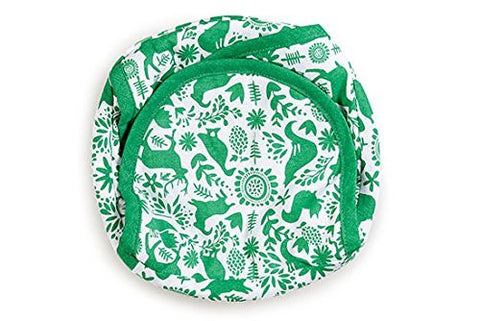 HOLIDAY SALE Tortilla Basket, Bread, Roti-Printed -9 Inches- Otomi Green (green)