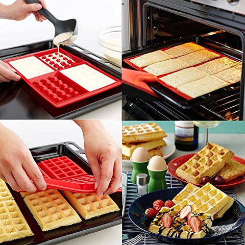 Special Offer Safety 4-Cavity Waffles Cake Chocolate Pan Silicone Mold Baking Mould Kitchen