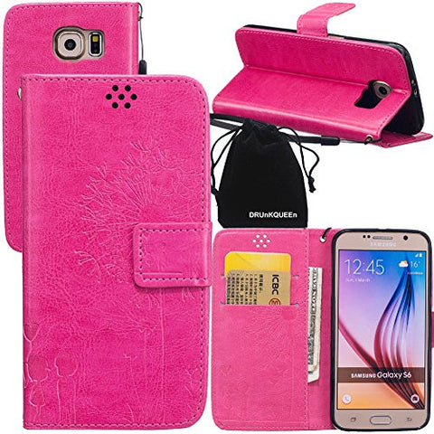 DRUnKQUEEn S6 Case, Galaxy S6 Case, Wallet Case with Cellphone Holder - PU Leather Cover Purse Slim Fit Card Slot for Samsung Galaxy S6 G920