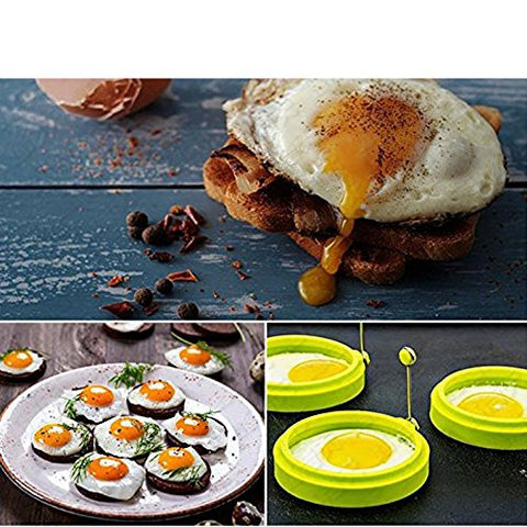 Ningmi Egg Ring Cooker / Pancake Mold. Premium Silicone Egg Rings Non Stick Set of 3 Piece Random colors Green or orange