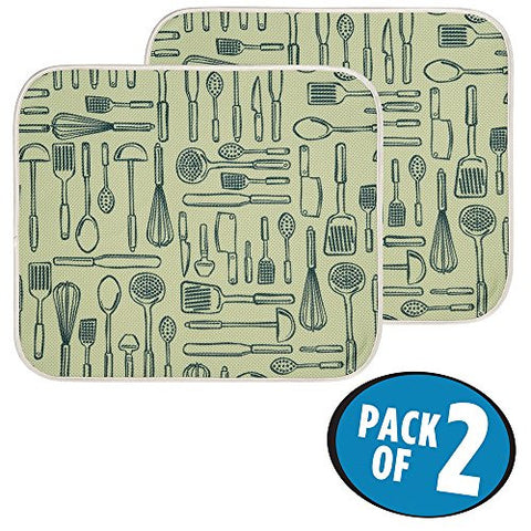 "mDesign Kitchen Countertop Absorbent Dish Drying Mat - Pack of 2, 18"" x 16"", Sage/Ivory"