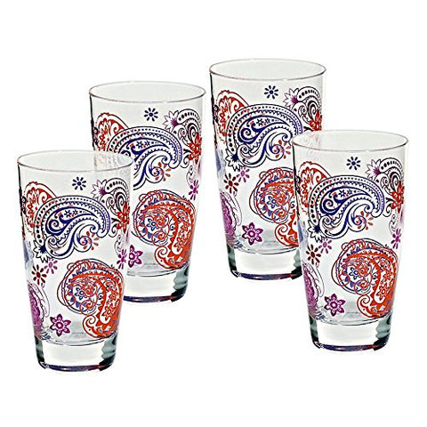 "Set of 4 pieces, set of limo glasses, longdrink glass, water glass ""NADIA"" 330 ml, modern style, glass (ARTGLASS powered by CRISTALICA)"