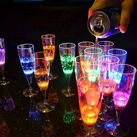 Liquid activated Light Up Champagne Glasses, 6 Different colours Wedding Flute's Light Up Flashing Cups LED Liquid Activated for Bar Night Club Party Drink Christmas Wedding Party Decoration (6 Pack)