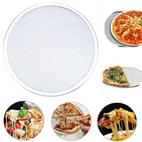 WHOSEE 10-Inch Seamless Aluminum Pizza Screen Baking Tray Metal Net Bakeware Kitchen Tool